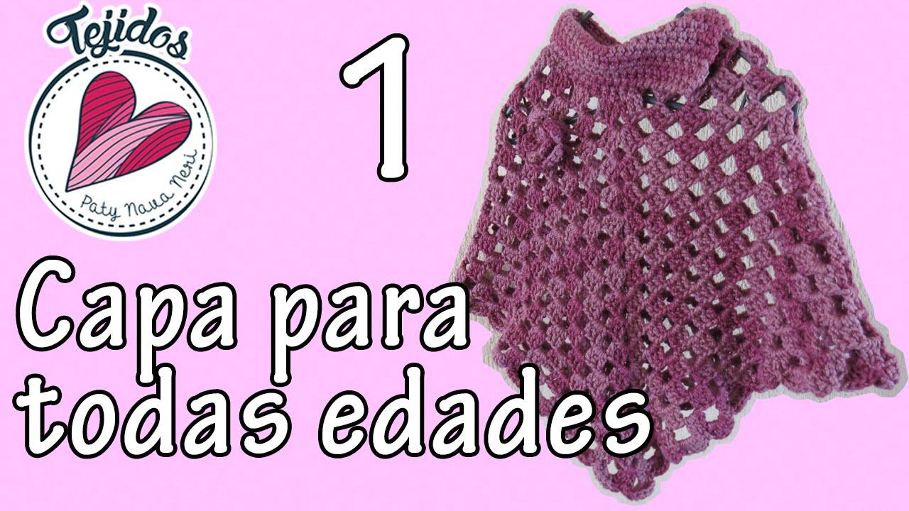 Tutorial de capa para todas edades Niña/Adulto a crochet Pt 1/2 ...