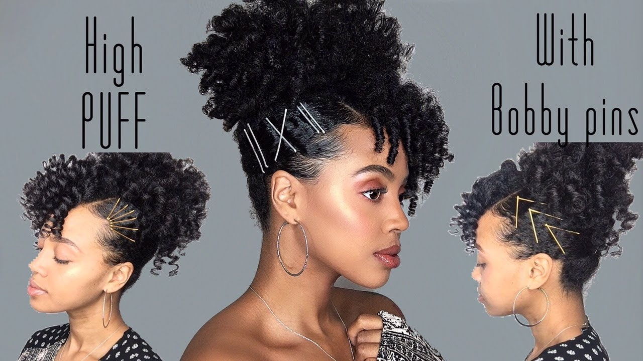 Curly High Puff With Bobby Pins Cool Calm Curly