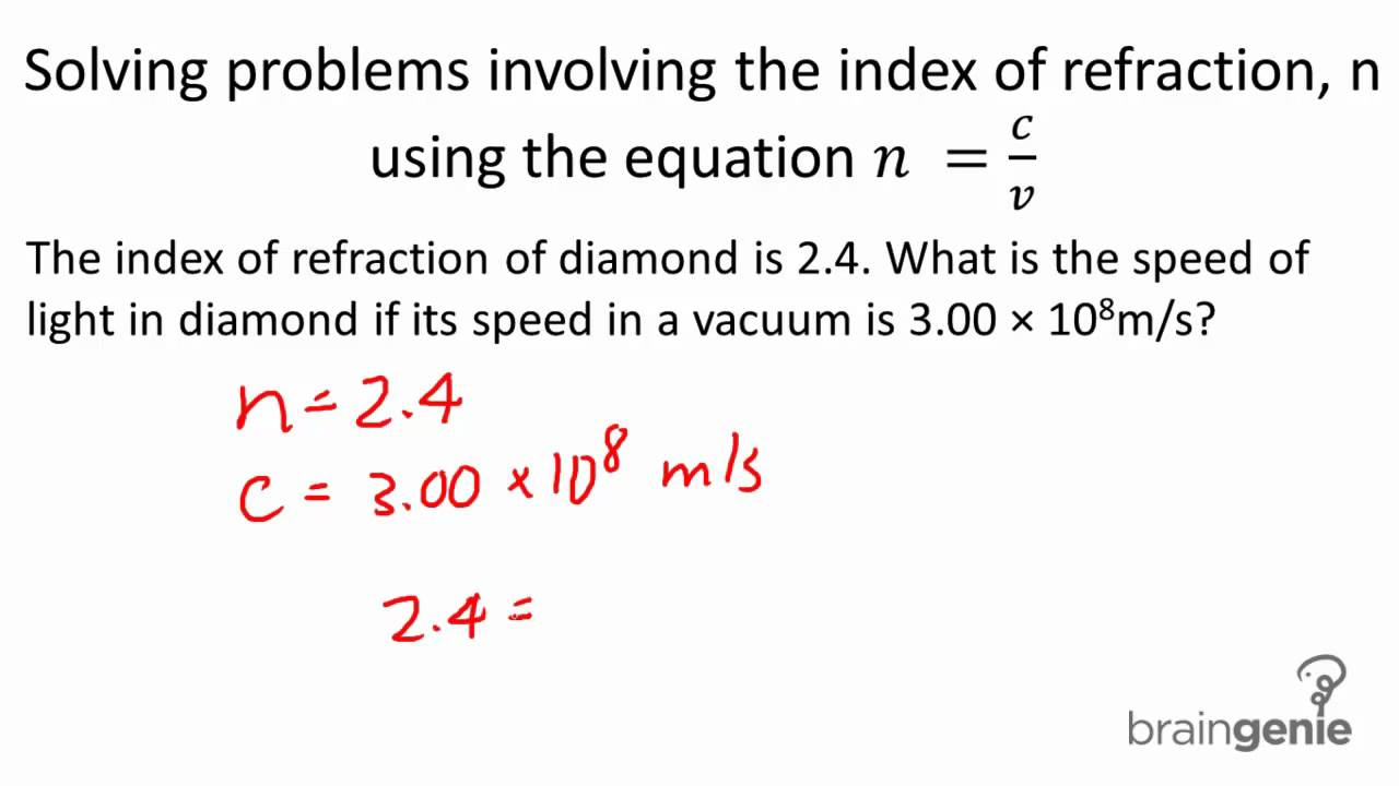 physics solving problems involving the index of refraction physics 7 3 7 3 solving problems involving the index of refraction using the equation