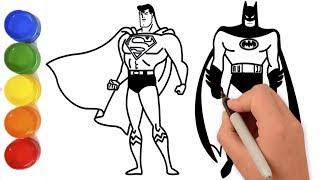 Drawing and Coloring Superman vs Batman - Coloring Page
