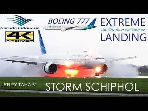 GARUDA B777 EXTREME CROSSWIND LANDING + WATERSPRAY in STORM @ STORMY AMS