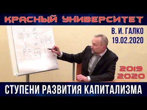 Ступени развития капитализма. В.И.Галко. Красный университет. 19.02.2020.