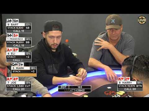 "Live at the Bike $5/$5 with $5 ante NLHE - ""Wayne Chiang and Austin Yoo Gangster Commentary"""
