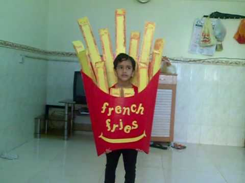 Ashfina practicing to perform french fries in fancy dress for Best out of waste models