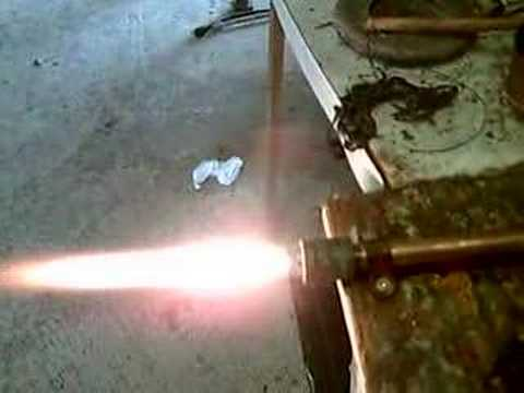 Polyethylene + GOx Hybrid rocket test fire 3