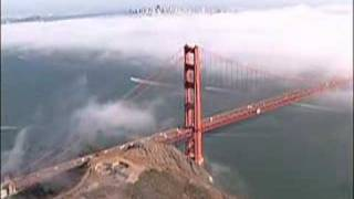 Aerial Golden Gate Bridge in Fog San Francisco Bay