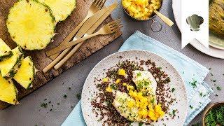 Rotbarbe mit Ananas-Salsa I Fisch im Bananenblatt   EDEKA