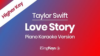 Love story by taylor swift piano karaoke instrumental backing track in a higher key. for lyrics and chords please see the description below. we also upload t...