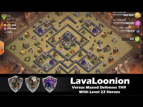 Live Attack, Quatro LavaLoonion vs Maxed Defenses TH9 | Lava Hound Strategy | Clash Of Clans HD