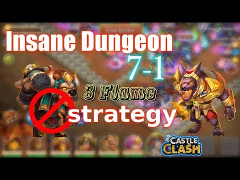 Castle Clash 3 Flame Insane Dungeon 7-1_ Strategy _Without MINO