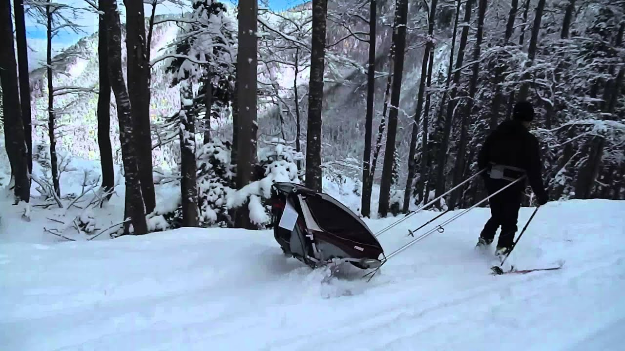 Skitouring with Baby using a Thule Chariot CX 1 Trailer