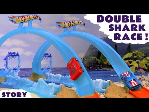 Thumbnail: Disney Cars Toys Shark Race Track with Hot Wheels Spiderman Avengers Batman and Play Doh Lights