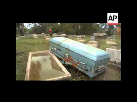 About 100 caskets from the Hollywood Cemetery in Orange, Texas surfaced due to flood waters caused b