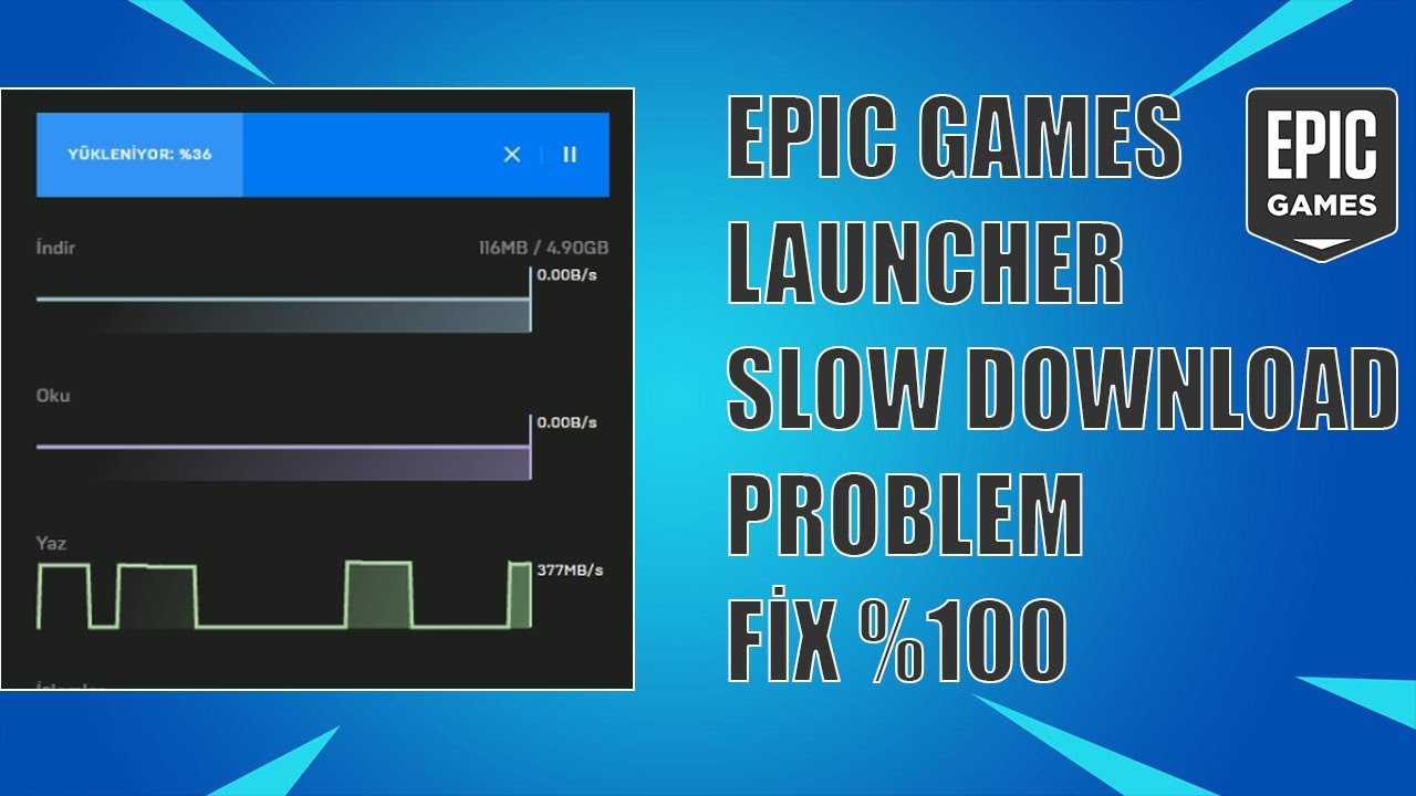 EPİC GAMES LAUNCHER SLOW DOWNLOAD PROBLEM SOLVED %100 [2019]