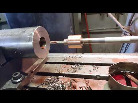 Drilling a precision hole deep inside a larger hole on a Bridgeport Milling Machine