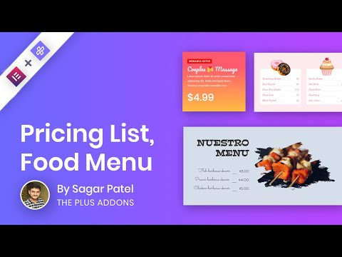Pricing Table | Food Menu | Restaurant Menu | Service List/Menu Using The Plus Addons For Elementor