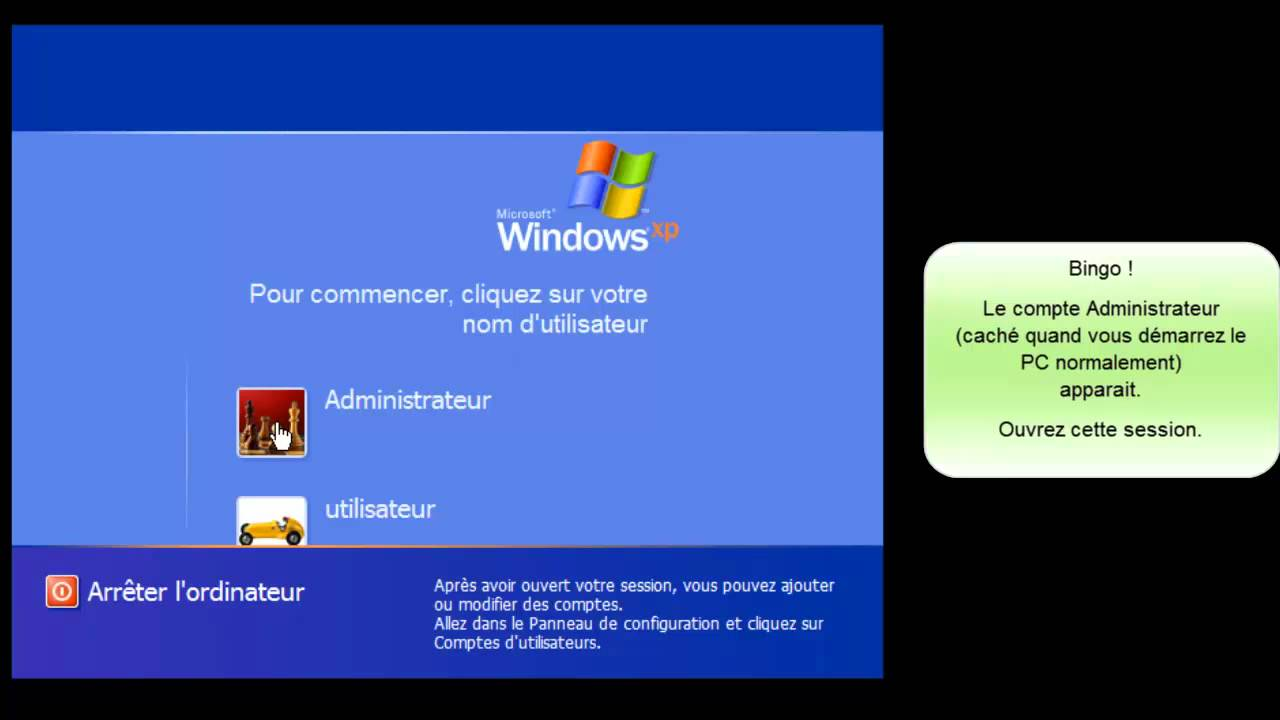 Changer le mot de passe de session perdu sous windows xp youtube - Comment ouvrir un garage sans clef ...