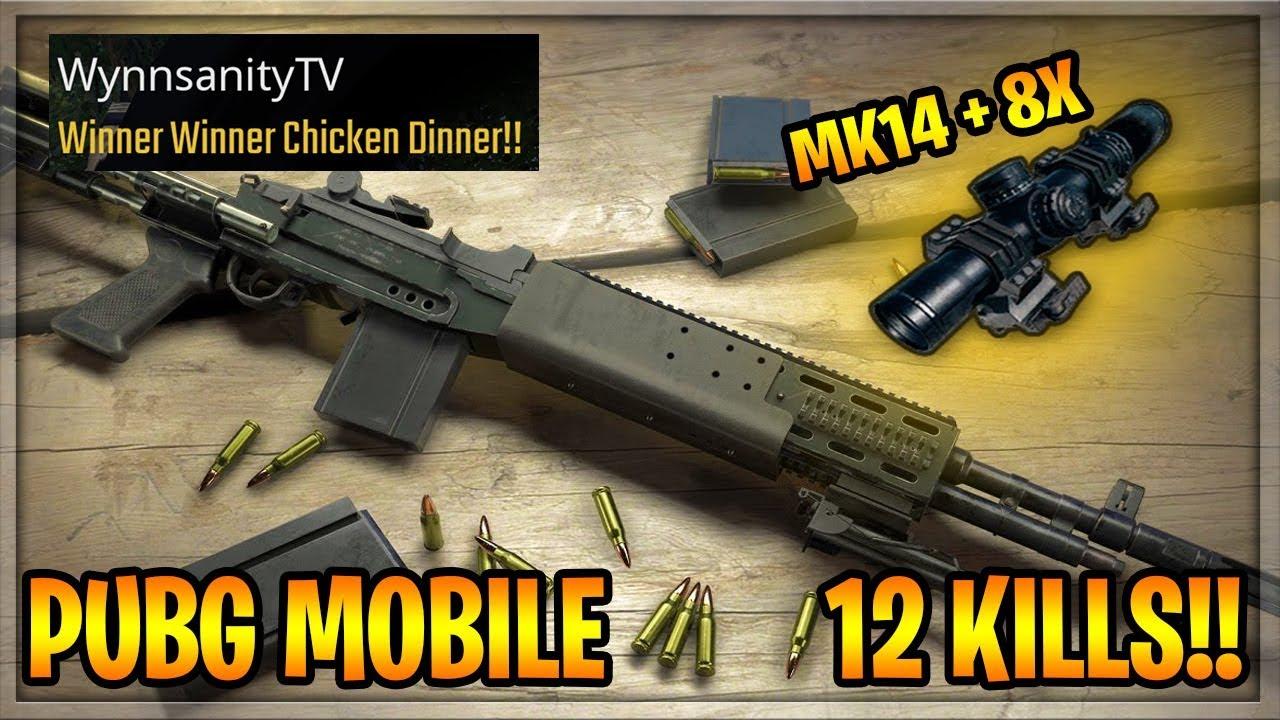 PUBG MOBILE Chicken Dinner! 12 Kills • MK14 + 8X is INSANE!