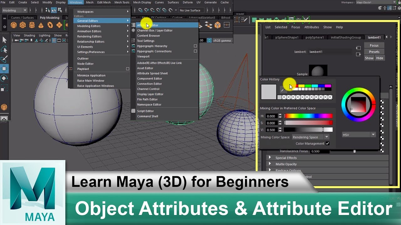 What are Object Attributes & Attribute Editor | Learn Maya 3D Animation for  Beginners Tutorials #52