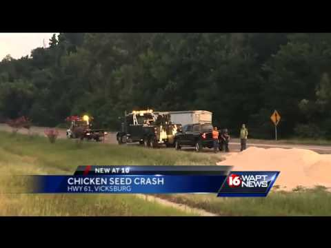 Chicken feed truck crashes in Vicksburg