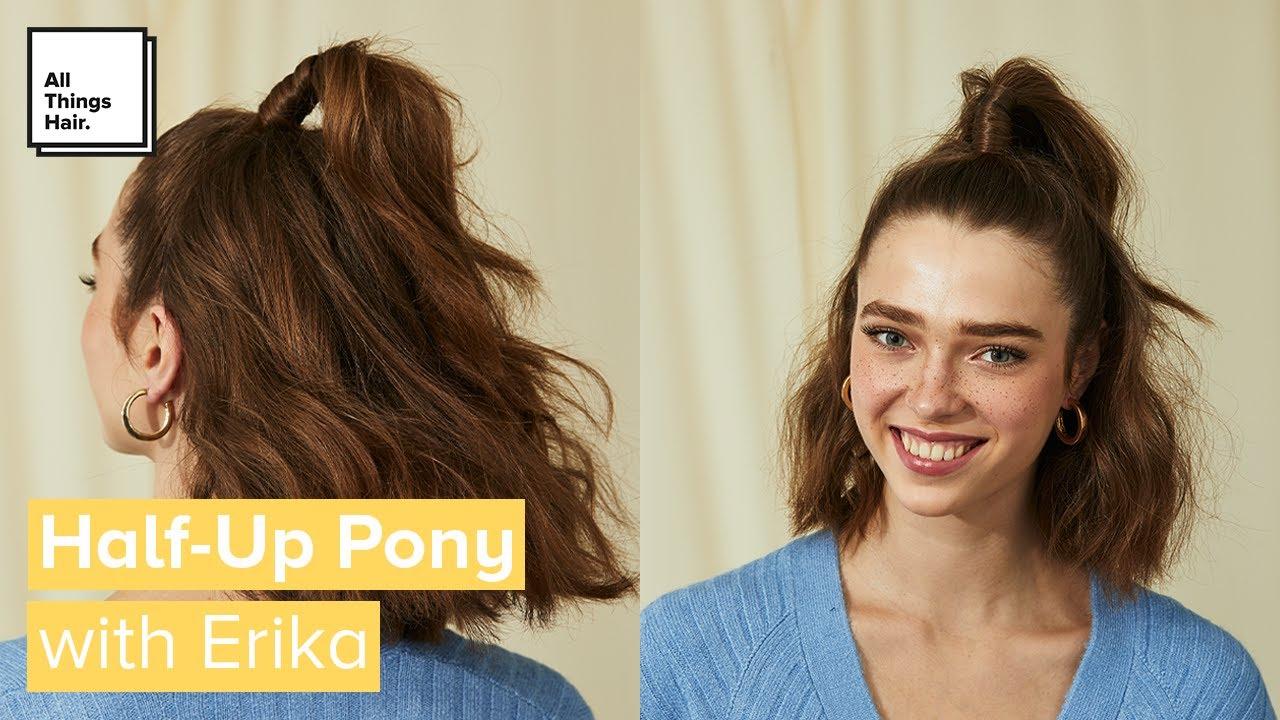 Easy Half Up Ponytail Hair Tutorial Short Hair Ideas Youtube