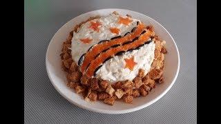 Праздничный салат к 9 мая! Вкусный салат с куриной печенью. Салат с сухариками