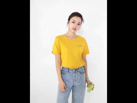 일양 여름 신상 반팔 티셔츠 여성 라운드 트렌디한 루즈핏 순면 박서 상의 3761SZY051454