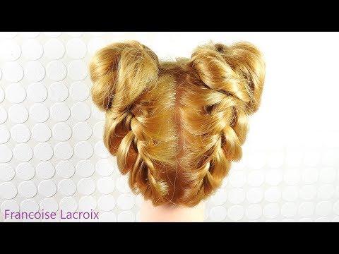 Coiffure Tresses Macaron Chignon |  Braid Hairstyle Updo | Peinado Trenza Recogido Macarrón