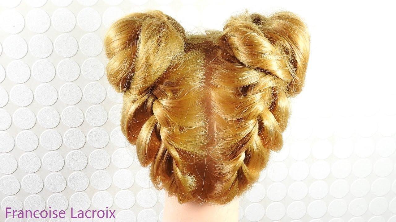 Coiffure Tresses Macaron Chignon   Braid Hairstyle Updo ...