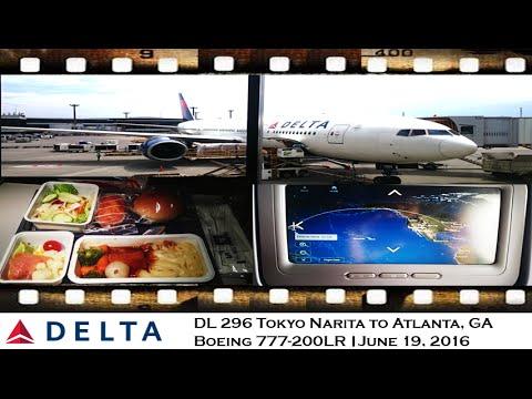 FLIGHT REVIEW DELTA AIRLINES DL 296 TOKYO NARITA TO ATLANTA ON BOEING  777-200LR Main Cabin
