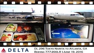 DELTA AIRLINES DL 296 TOKYO NARITA TO ATLANTA ON BOEING  777-200LR Main Cabin