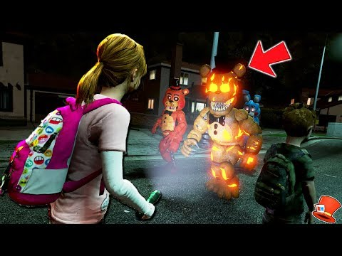 KIDS vs ANIMATRONIC TREAT OR TREATING 2018! (GTA 5 Mods FNAF RedHatter)