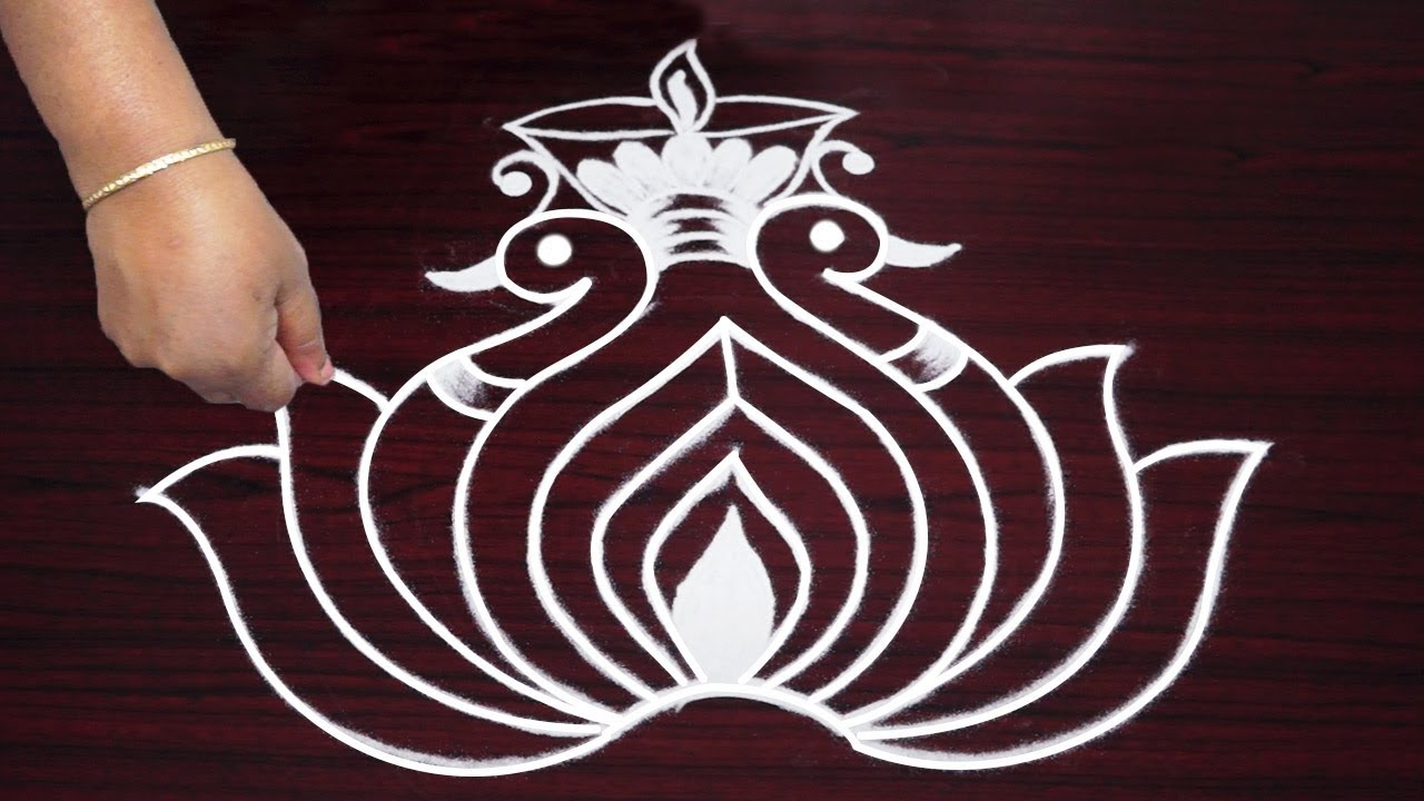 Beautiful Peacock Rangoli Drawing Freehand Innovative Kolam