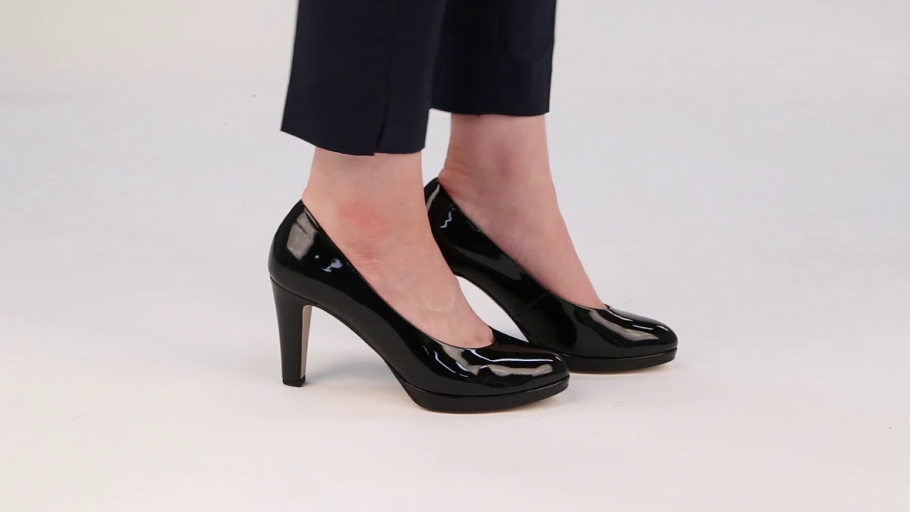 5f60e93742b Gabor Splendid Womens Black Patent High Heel Court Shoes - YouTube