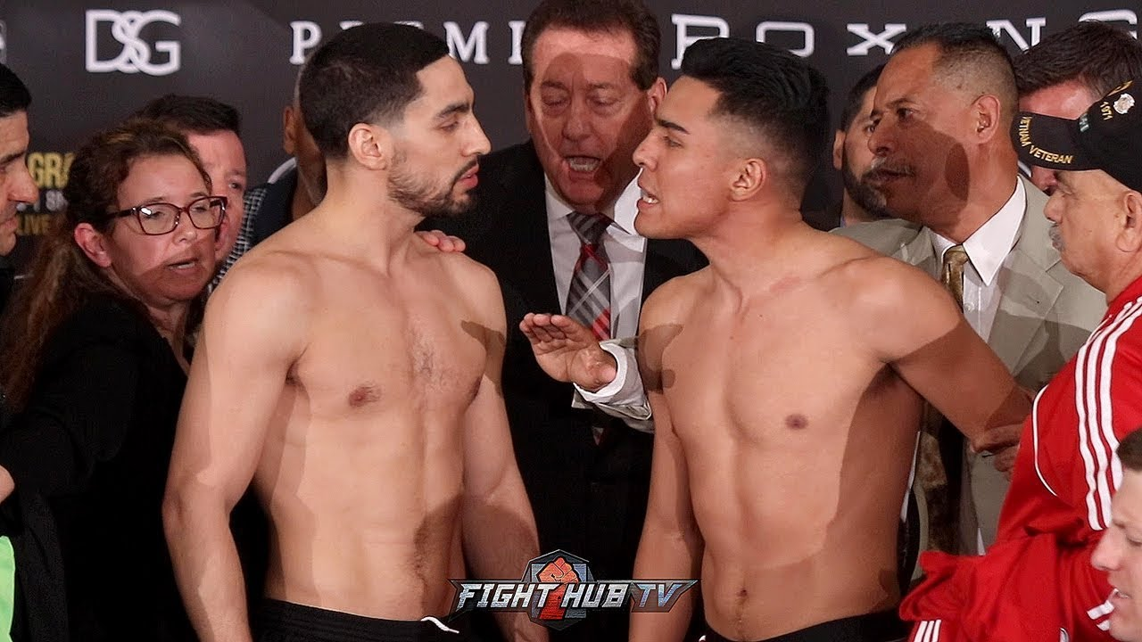 DANNY GARCIA & ADRIAN GRANADOS HAVE HEATED EXCHANGE DURING WEIGH IN FACE OFF - FULL WEIGH IN VID