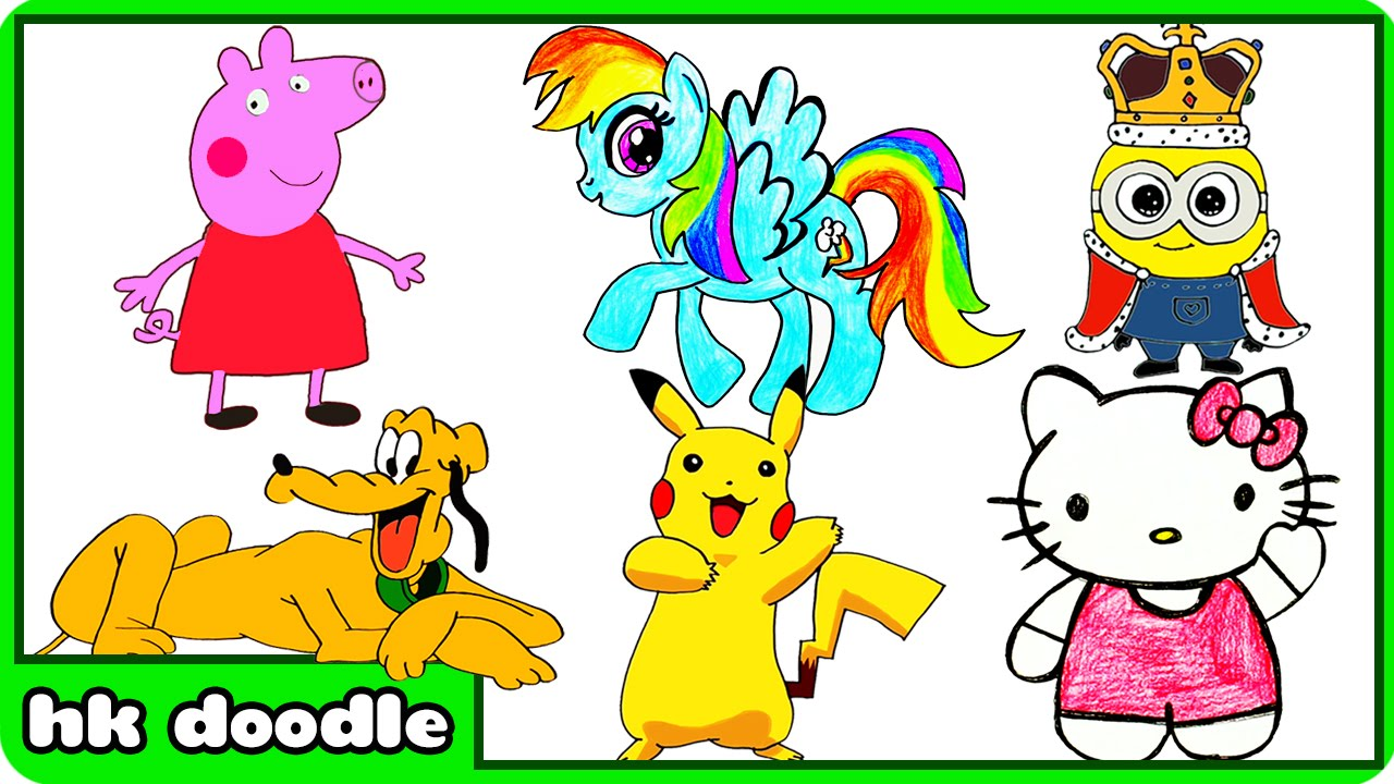 Animal drawings for children - How To Draw Peppa Pig And Other Cute Animal Drawings Speed Drawing Compilation For Kids Youtube