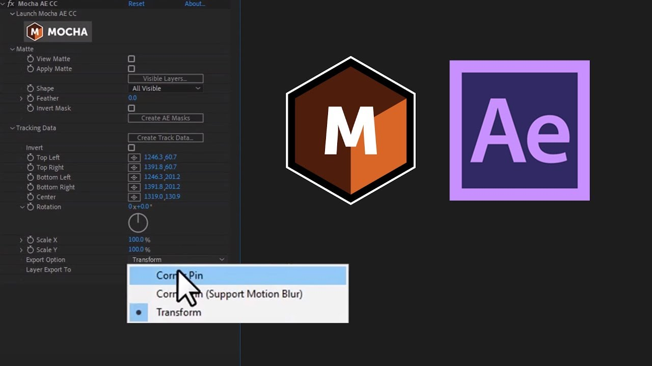 Mocha AE: Copy/Paste tracking to After Effects 2019