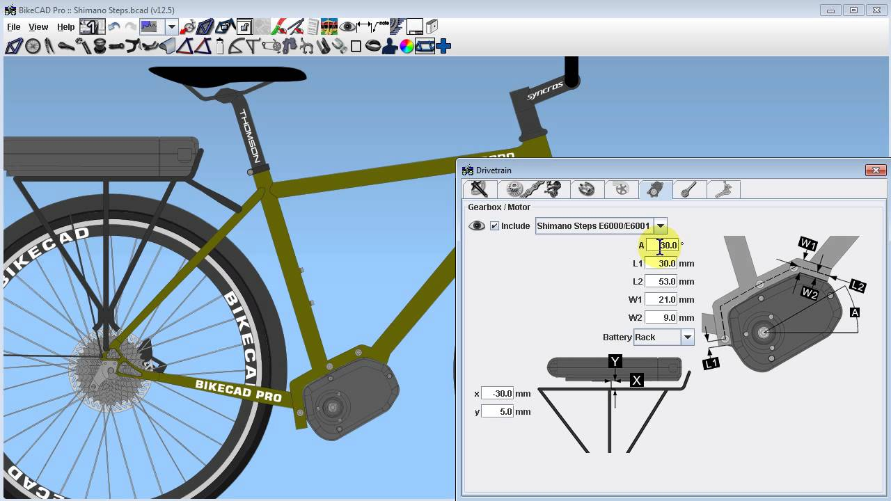Modeling Shimano Steps Electric Drive in BikeCAD