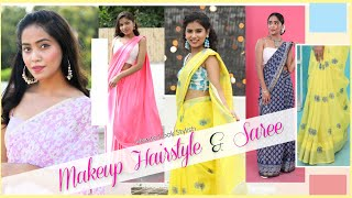 How to Look Stylish - Try On Makeup, Hairstyle and Saree | Anaysa