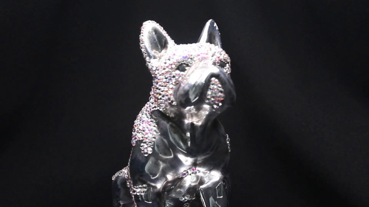 Perfect Swarovski French Bulldog Statue custom embellished with Swarovski  UD59