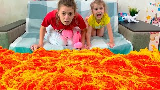 The Floor is Lava - story by Eva and mom. Pretend play for kids