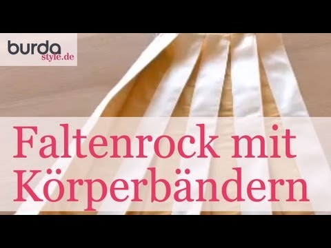 burda style – Faltenrock mit aufgesteppten Köperbändern nähen - YouTube