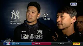 Masahiro Tanaka after getting hit with line drive