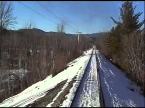 Riding the rear of Conway Scenic freight steamtrain in NH January 2009