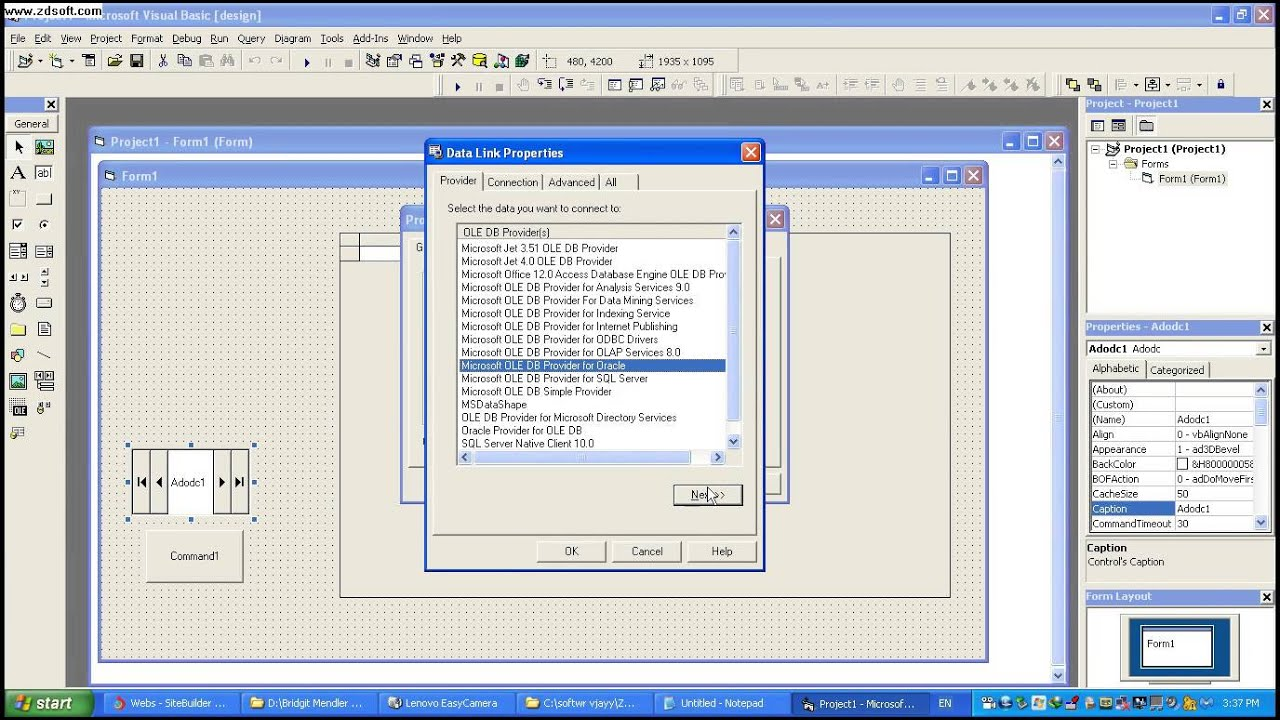 ADODB connection in visual basic (vb6) with oracle database