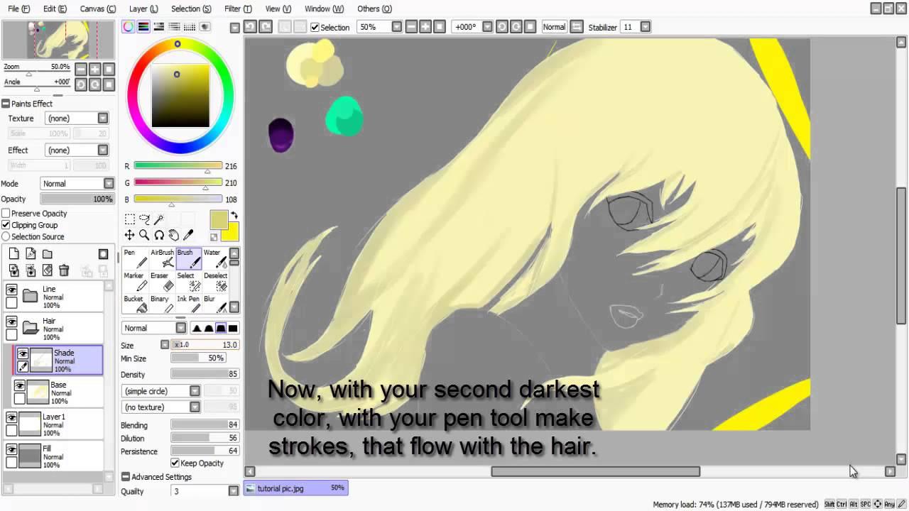 Paint Tool Sai Tutorial Hair Shading
