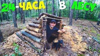 24 часа в лесу! Охота на курицу! Строю крутую землянку!