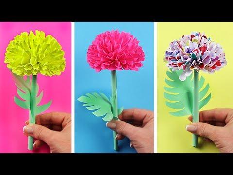 Как сделать объемный цветок из бумаги своими