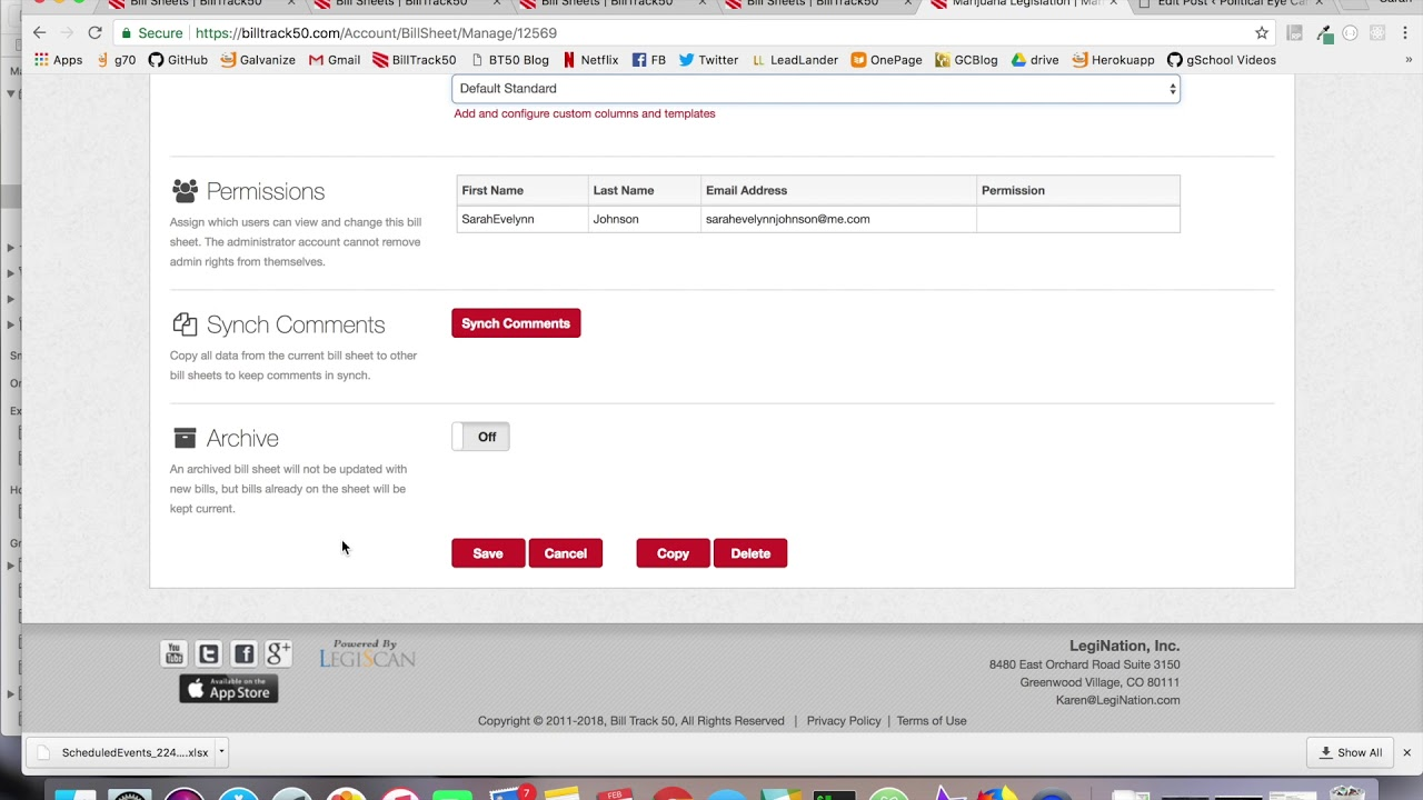 how to manage a billtrack50 bill sheet youtube
