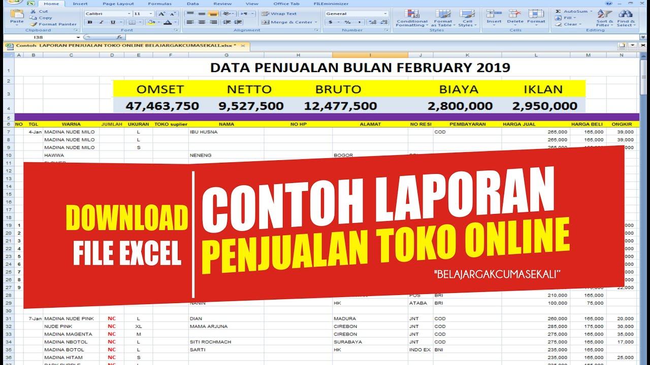 Download File Excel Contoh Laporan Penjualan Toko Online Youtube